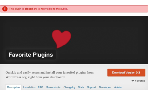 Screenshot of Favorite Plugins disabled on WordPress.org